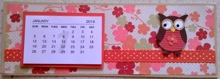 Calendar fridge magnet with owl punch