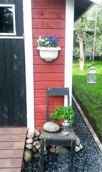 takapihan muutos,  nurmikko  kivetys puutarhavaja