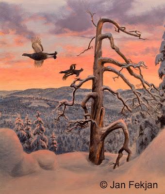 Bilde av digigrafiet 'Vintermorgen 1'. Digitalt trykk laget på bakgrunn av et maleri av fugler i vinterlandskap. Et landskapsmotiv med to orrhaner, orrfugl, Lyrurus tetrix som flyr mot soloppgangen. Snøen ligger tungt på trærne. Stilen kan beskrives som figurativ, nasjonalromantisk og realistisk. Bildet er i høydeformat.