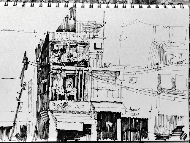 Nét kí họa nhà phố của Trí Núi