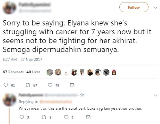 Elyana Dikecam Kerana Tidak 'Berjuang' Untuk Kehidupan Selepas Mati