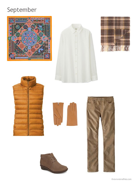 a fall and winter outfit in cream, brown and marigold
