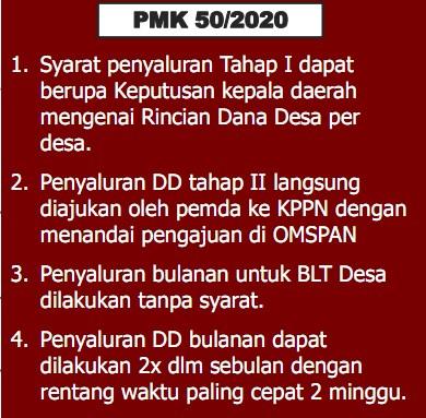Peraturan Menteri Keuangan (PMK) Nomor 50/PMK.07/2020 tentang Perubahan Pengelolaan Dana Desa