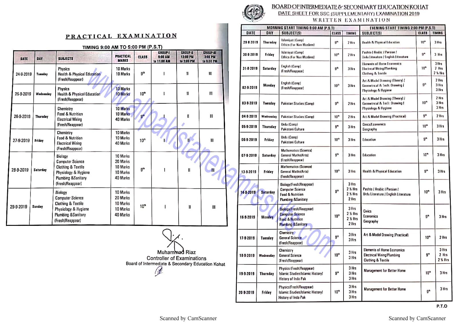Date Sheet For SSC Supplementary Kohat Board 2019