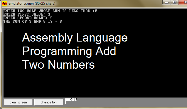 Assembly Language Programming Add Two Numbers