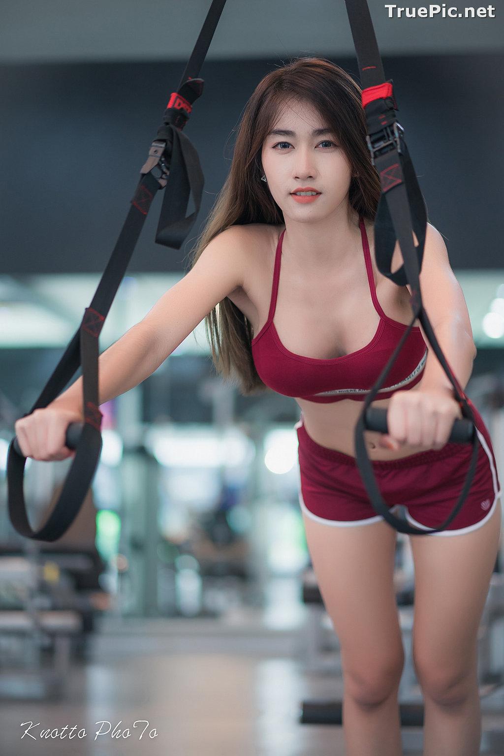 Image Thailand Hot Beauty Model - Nisa Khamarat - Red and Black Fitness Set - TruePic.net - Picture-3
