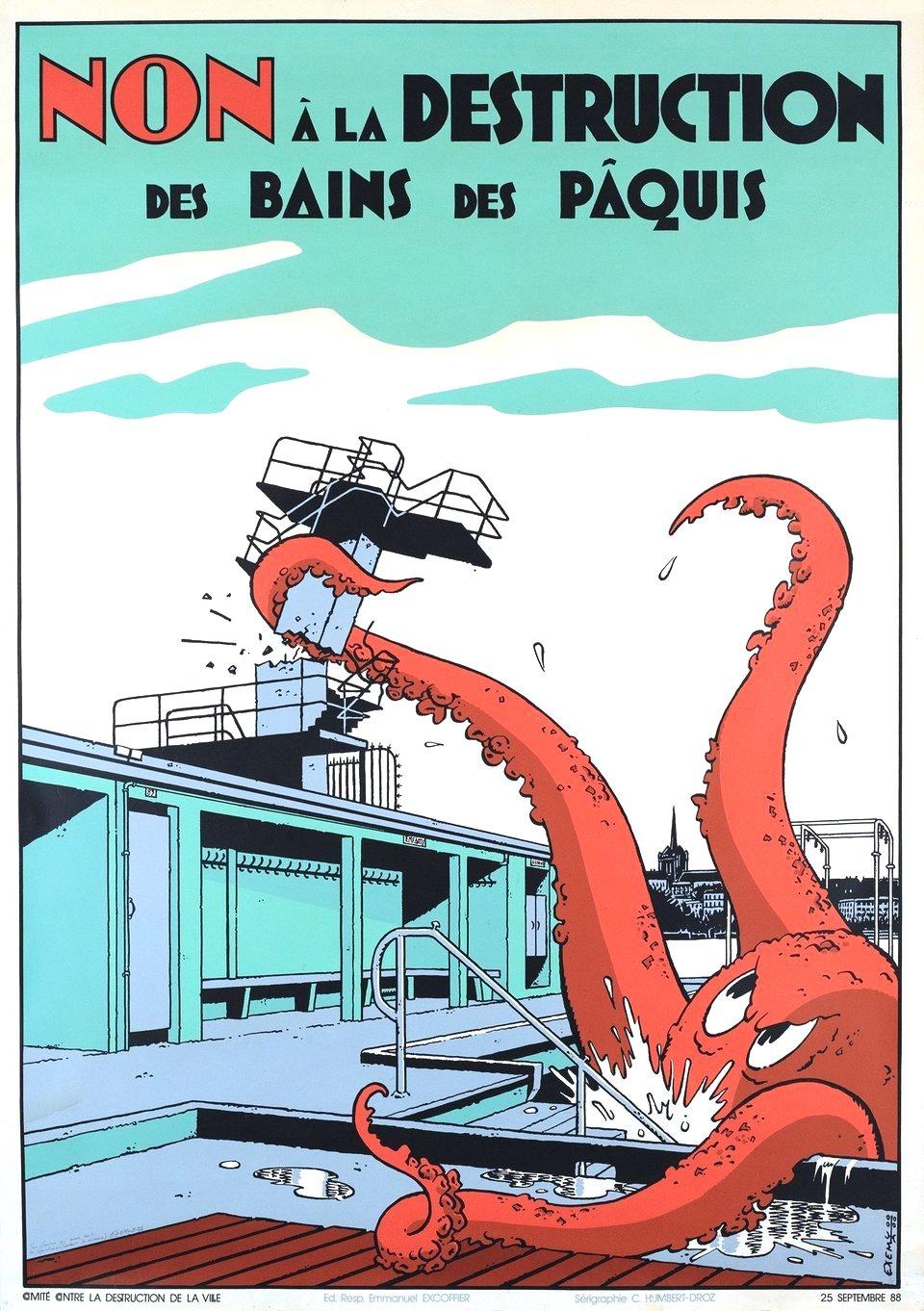 a 1988 political poster, Swiss? Non a la Destruction des Bains des Paquis, a giant octopus destroys buildings
