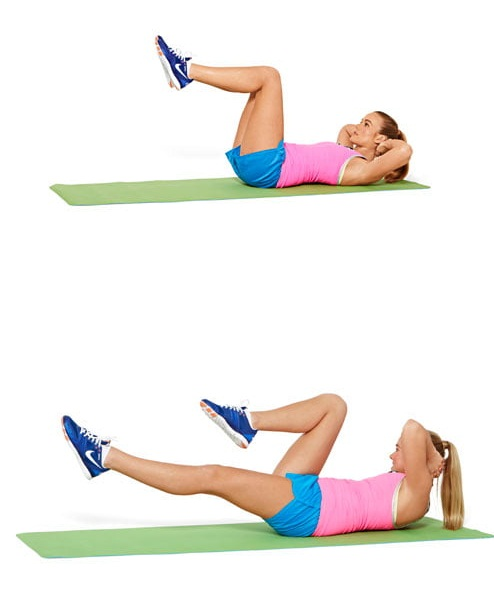Lift bent legs while lying on your back