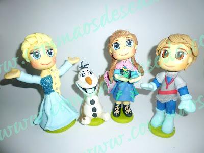 Topo de Bolo Frozen: Elza, Anna, Krisntoff e Olaf. Encomenda feita
