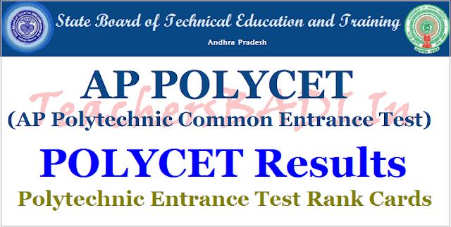 AP Polycet Results 2018,Polytechnic entrance test Rank cards,polycet rank cards