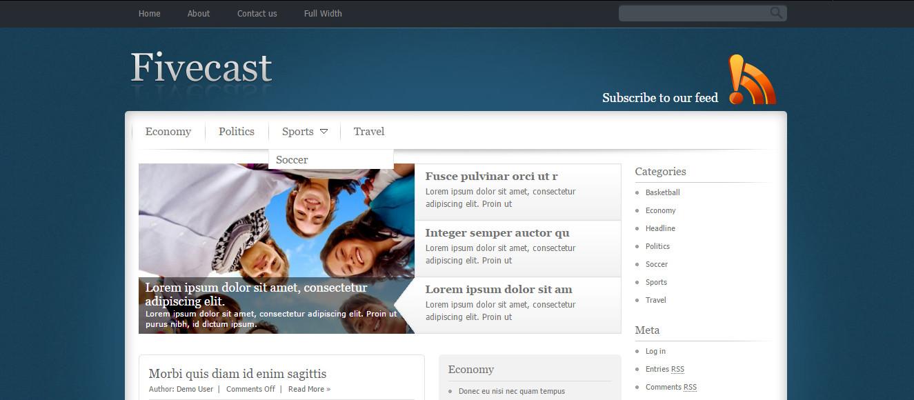 FiveCast WordPress personal blog Portfolio theme