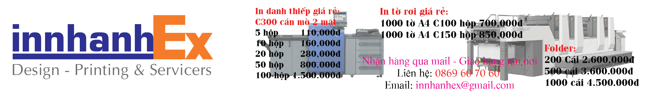 Thiết kế, in ấn, in nhanh, in offset, in banner, in bao thư, in bìa đựng hồ sơ, in catalogue,