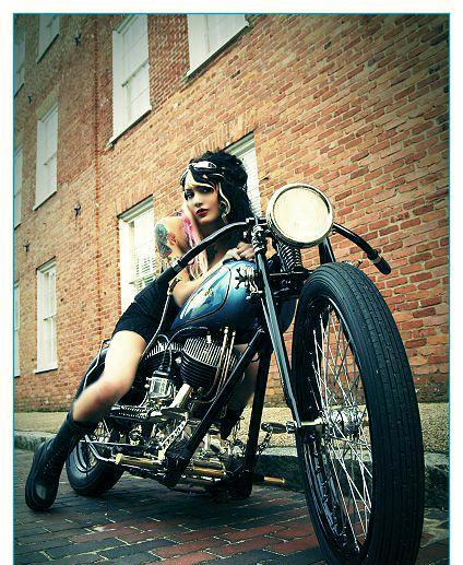 Cafe Racer Babe on 1976 Ironhead Sportster