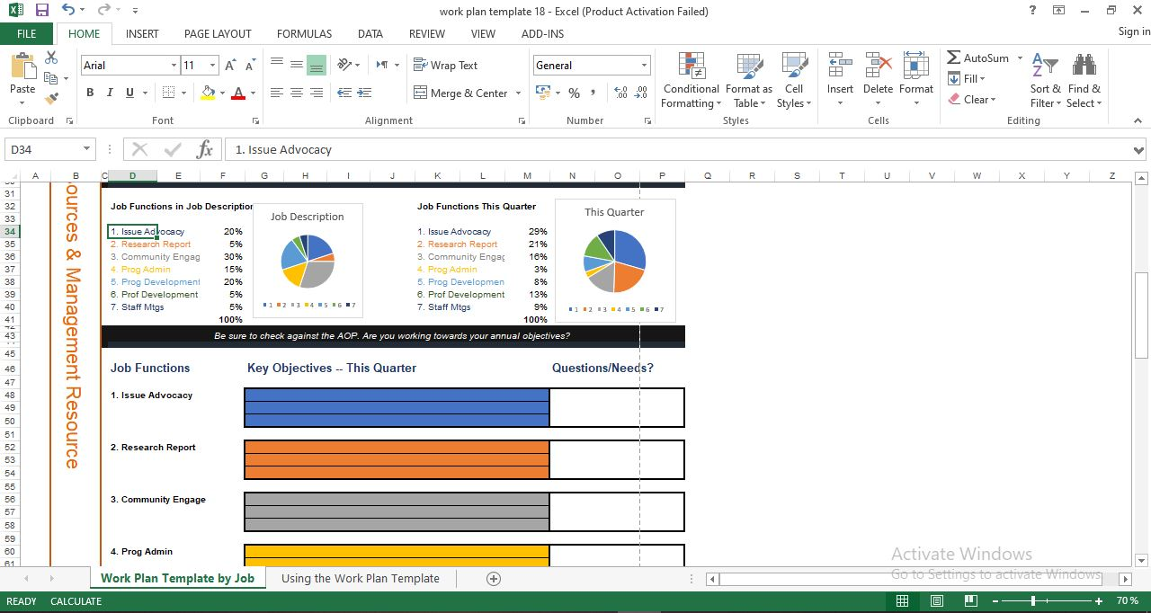 Free Project Work Plan Template in Excel