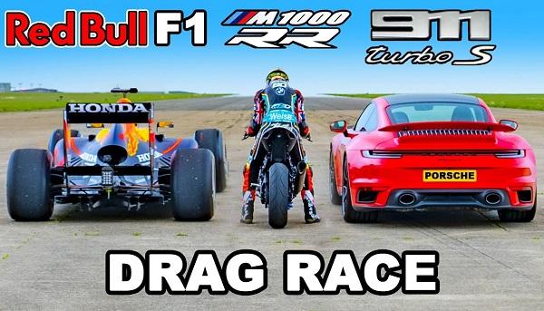 Red Bull RB7 vs BMW M 1000 RR vs Porsche 911 Turbo S