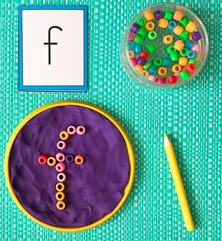 bead and playdough fine motor activity