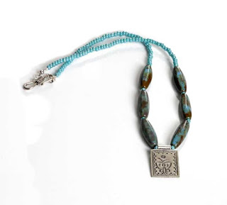 Turquoise Glass Beaded Fine Silver Pendant Necklace