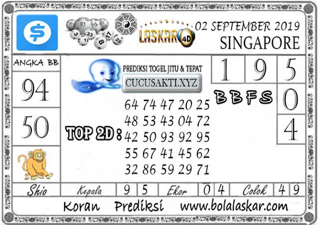 Prediksi Togel SINGAPORE LASKAR4D 02 SEPTEMBER 2019