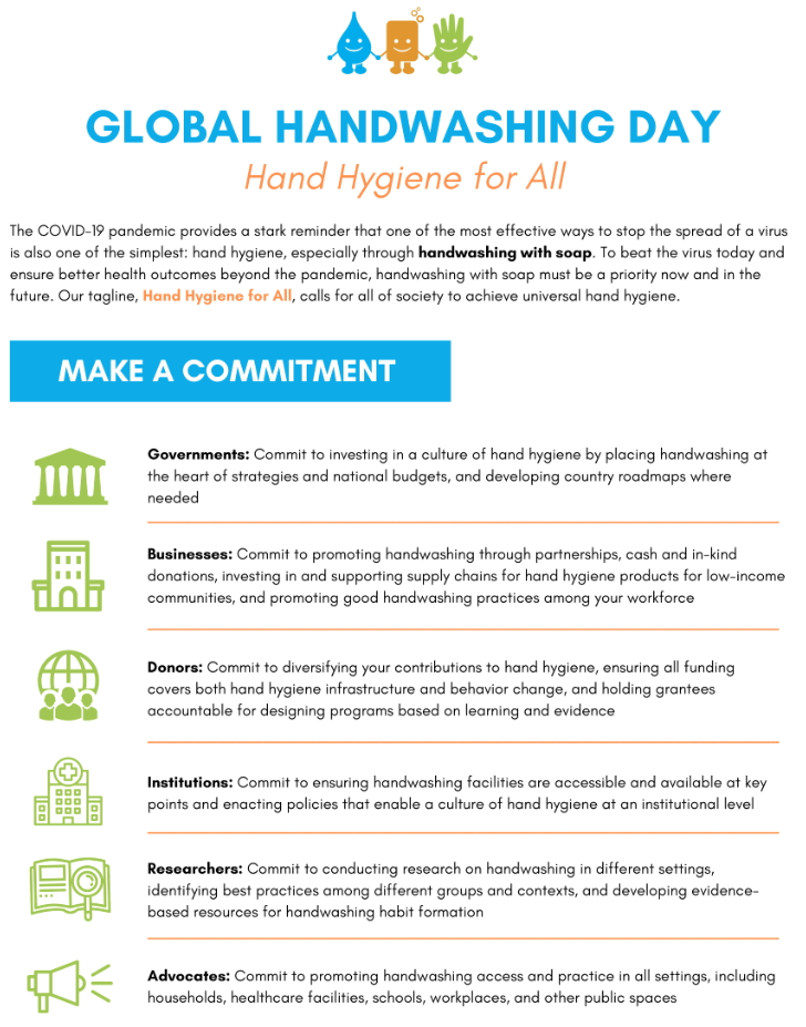 Global Handwashing Day 2020: Hand Hygiene for All (Infographic)