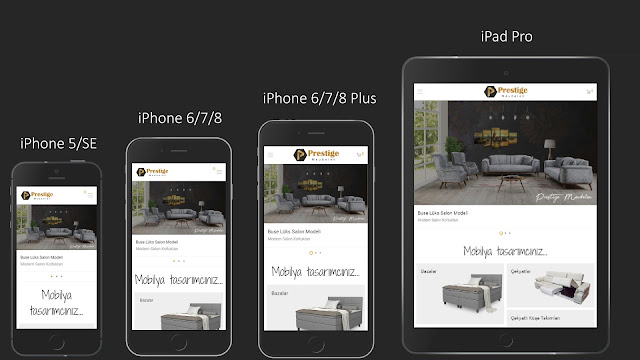 Prestige Meubelen e-ticaret sitesinin mobil uyumluluğu. - İstenci Developer