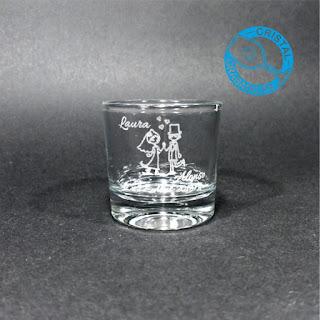 Vaso de chupito personalizado con sello de Boda