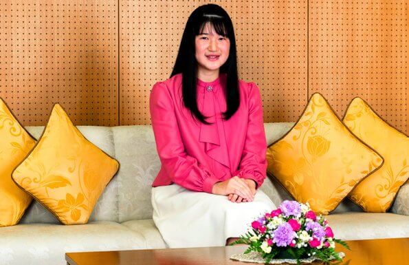 Japanese Princess Aiko, the only child of Emperor Naruhito and Empress Masako. Princess Aiko pink blouse