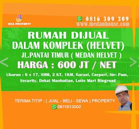 Rumah dijual di dalam komplek daerah Medan Helvet <del>Rp 650 Juta </del> <price>Rp. 600 Juta (NET/NO NEGO) </price> <code>rumahdikomplekhelvet</code>
