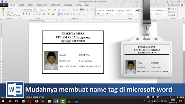 Cara cepat membuat name tag di Microsoft word + video