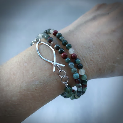 Bloodstone Chain with Wire Ichthus as layered bracelet