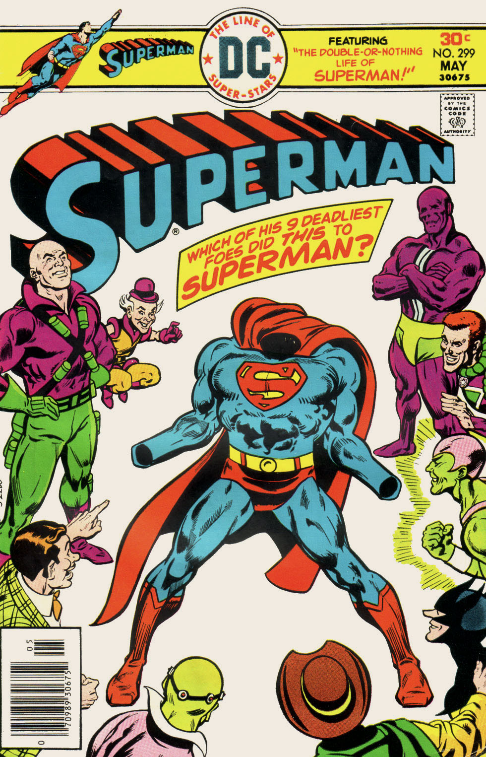 Lex Luthor, Mxyzptlk, Parasite, Amalak, Brainiac, and other villains, most in shades of purple and green, surrounding empty but filled-out, muscular suit of Superman