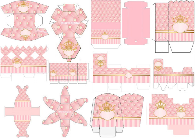 Golden Crown in Pink: Free Printable Boxes.