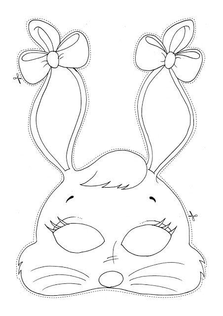 Tranh tô màu mặt nạ thỏ đẹp
