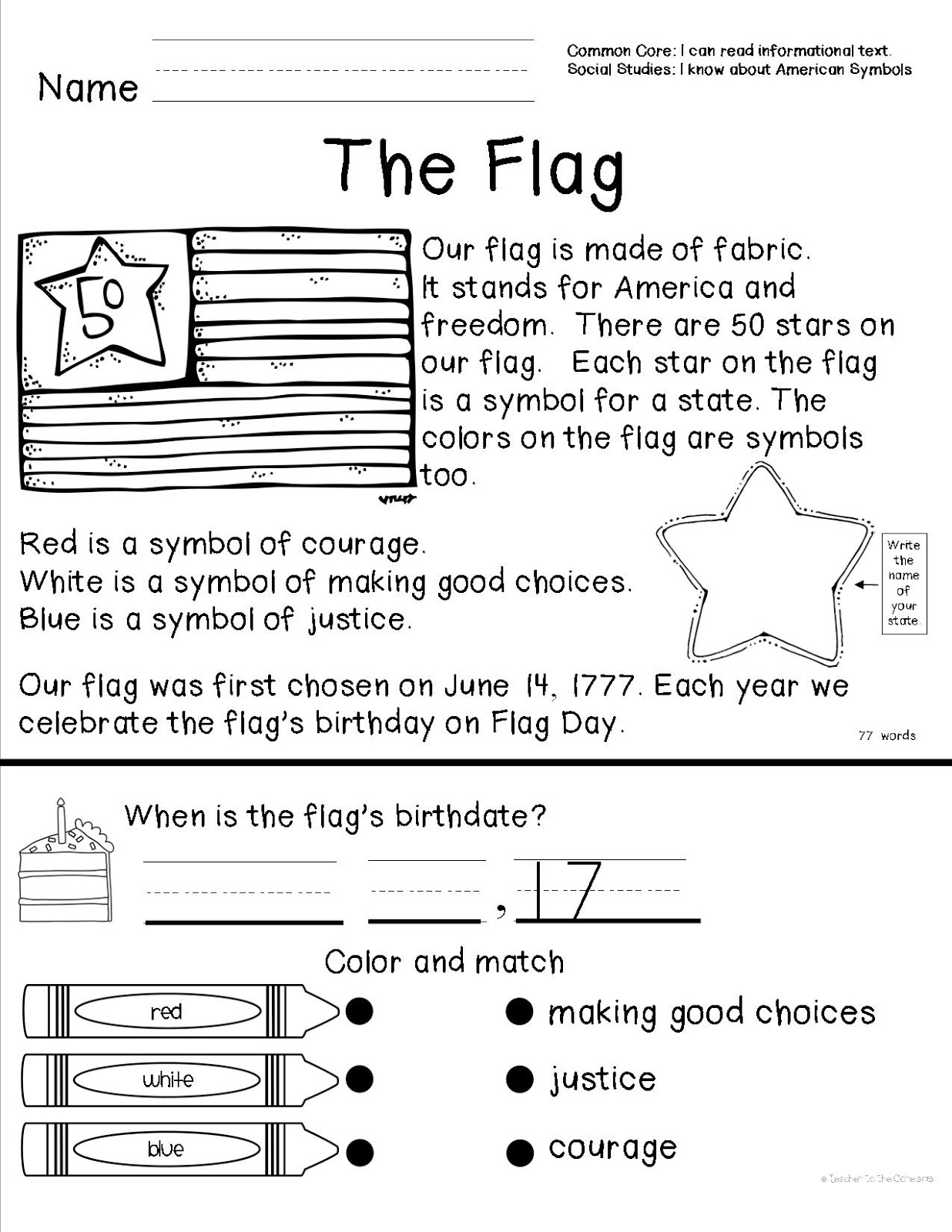 Teacher to the core american symbols for American flag coloring page for first grade