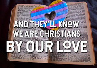 Heart superimposed over an open bible - 1 We are one in the Spirit, we are one in the Lord. We are one in the Spirit, we are one in the Lord. And we pray that all unity, may one day be restored. Chorus: And they'll know we are Christians, By our love, by our love. Yes, they'll know we are Christians by our love. 2 We will walk with each other, will walk hand in hand, We will walk with each other, will walk hand in hand, And together we'll spread the news, that God is in our land. 3 We will work with each other, we will work side by side, We will work with each other, we will work side by side And we'll save each man's dignity, and guard each man's pride. 4 All praise to the Father, from whom all things come; And all praise to Christ Jesus, the only Son; And all praise to the Spirit who makes us one;And they'll know we are Christians by our love.