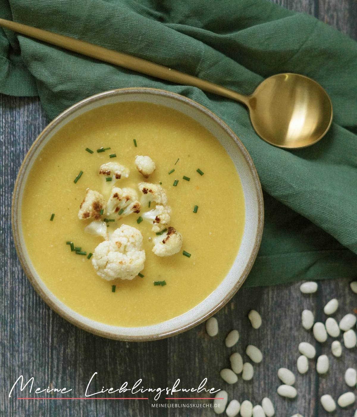 Cremige Blumenkohl-Suppe mit weißen Bohnen vegan