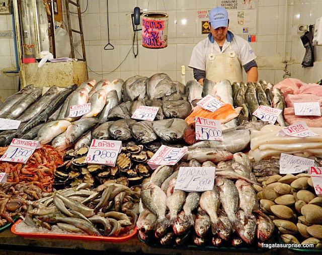 Barraca de peixes do Mercado Central, Santiago do Chile