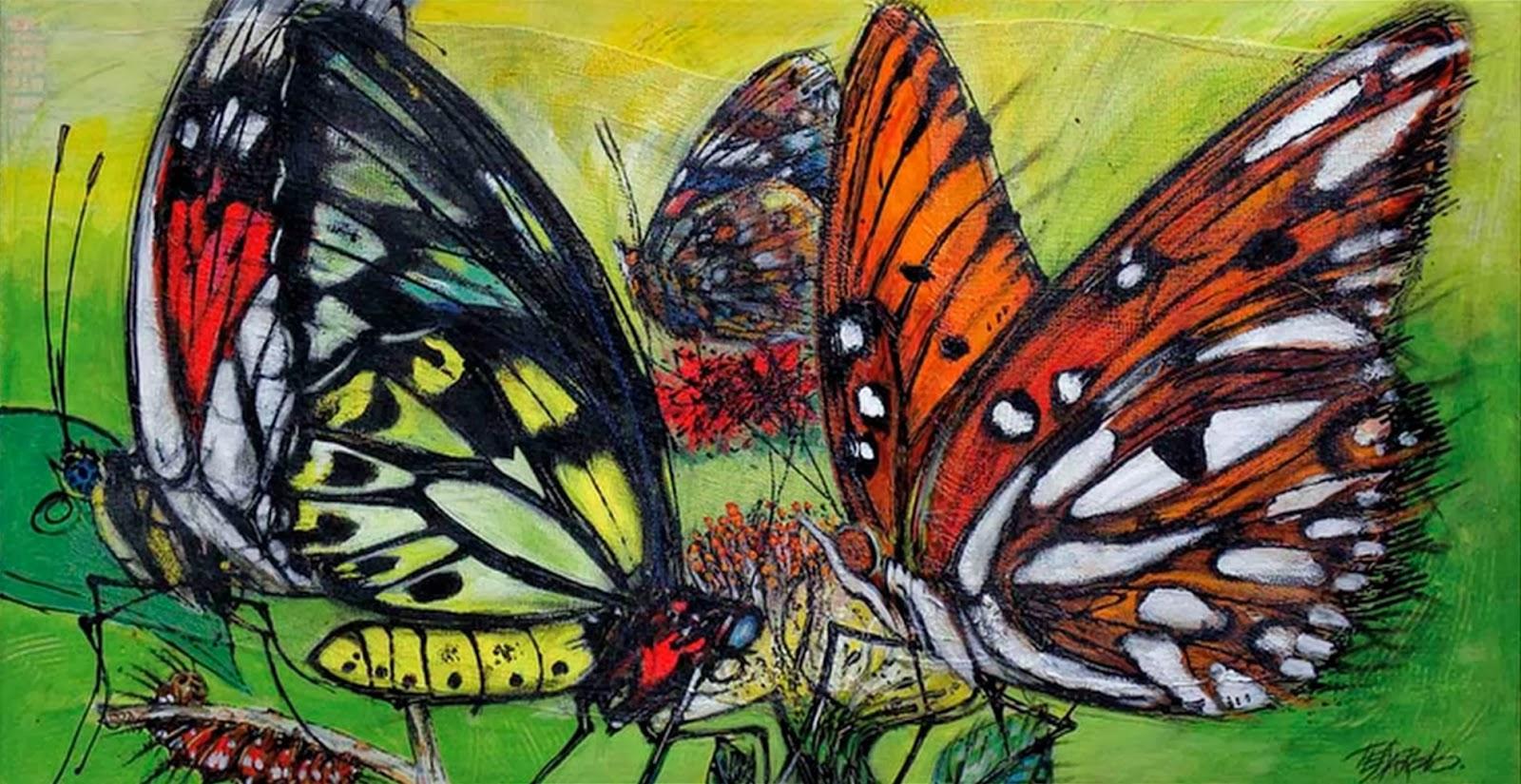 Cuadros Modernos Pinturas Y Dibujos Pintados A Mano Mariposas Al óleo