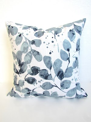 blue eucalyptus pillow cover