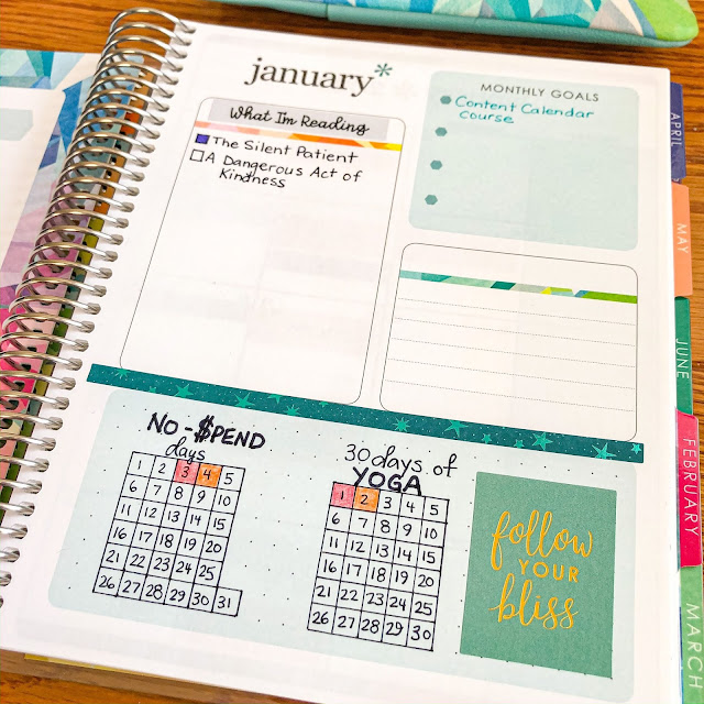 Close-up photo of Erin Condren Life Planner month overview