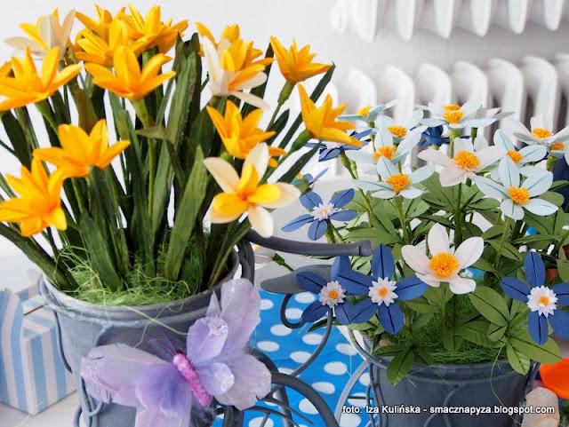 kwiatki, papierowe kwiaty, poltino, warsztaty, origami, rekodzielo, prace reczne, ozdoby z papieru, papier, wiosna, blogerzy razem