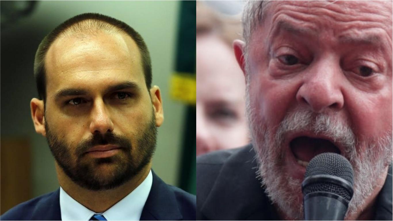 Foto-Montagem de Eduardo Bolsonaro e Lula