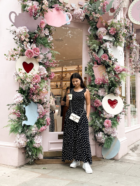 Kelly Fountain at Peggy Porschen London wearing Free People