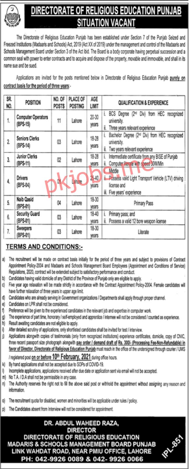 Latest Directorate of Religious Education Punjab Management Posts 2021