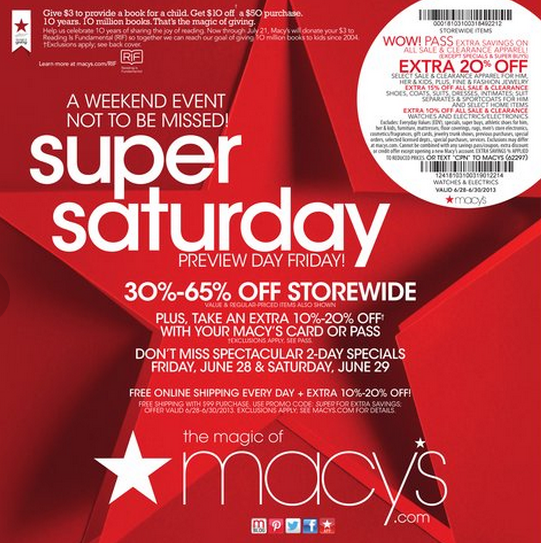 Macy's is offering a extra 20% off select sale and clearance apparel for him, her and kids OR extra 15% off all sale and clearance watches, coats, suits, dresses, impulse, swim for her, intimates; men's suit separates and sport coats and select shoes and home item, fine and fashion jewelry coupon.