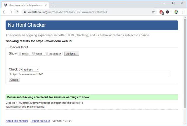 Hasil pengukuran W3 Validator Checker