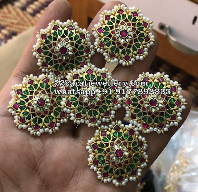 92.5 Silver Large Floral Kundan Studs