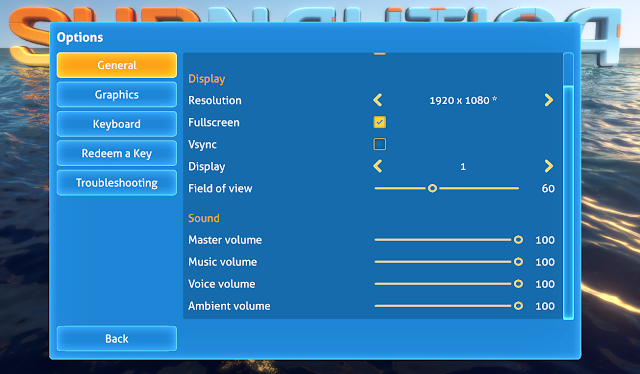 Subnautica options menu general tab sound volume display
