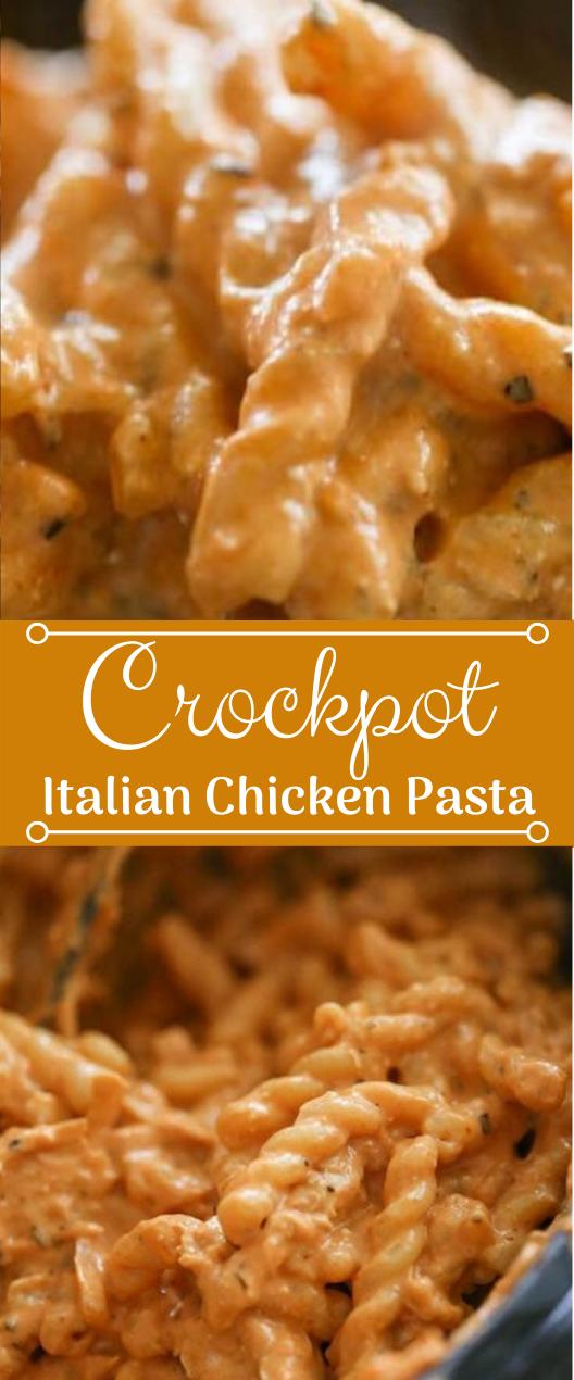 CROCK POT ITALIAN CHICKEN PASTA RECIPE #recipes #pasta #chicken #dinner #food