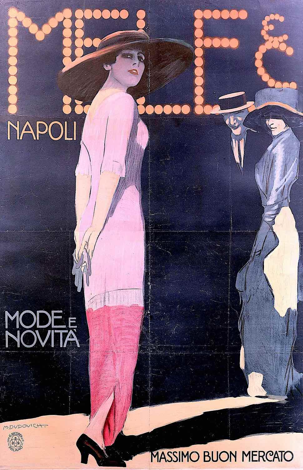 a 1911 Marcello Dudovich illustration of a pretty woman in Napoli, Mode e Novita