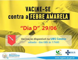 """Registro-SP terá novo """"Dia D"""" de vacinação contra a Febre Amarela"""